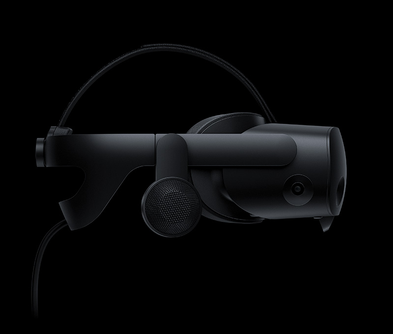 Close up of the HP Reverb G2 Omnicept Edition VR headset from the side